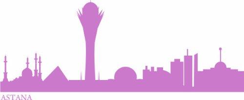 WANDTATTOO e515 Skyline Stadt - Astana (Kasachstan) 240x91 cm - violett