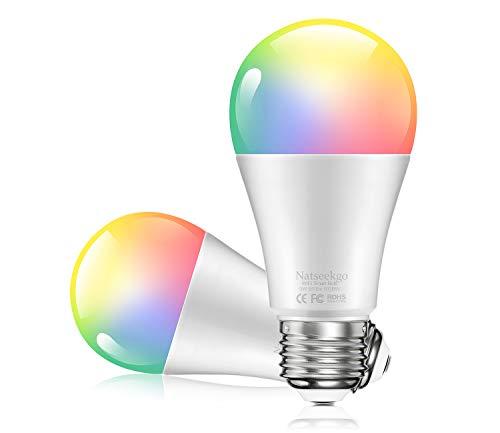 Smart E27 Glühbirne, WLAN LED RGB Lampe Bulb 9W, Mehrfarbige Dimmbare Lampe über App steuerbar, Kompatibel mit Amazon Alexa Echo Google Home für Haus Dekoration, Bar, Party,2 Stücke [Energieklasse A]