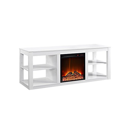 Ameriwood Home Parsons TV Stand with Fireplace, 65', White