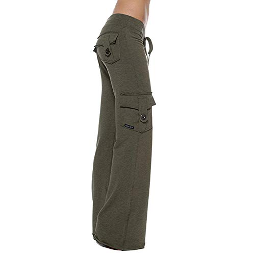 YWILLINK Yoga Pants for Women Elastic Waist Button Pockets (XL, Green)