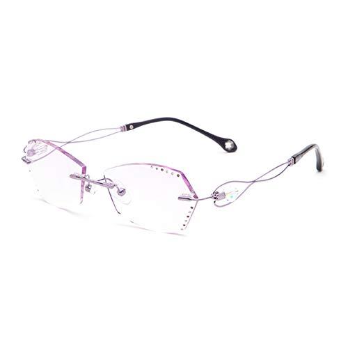 XIAOYUE Gafas de Lectura Progresivas de Enfoque MúLtiple con Zoom Inteligente, Gafas de Lectura Sin Marco Ligeras de Titanio Puro para Mujer (+1,00 - +4,00)