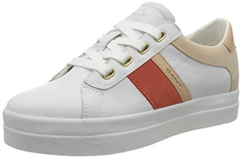GANT Footwear Damen AVONA Sneaker, Weiß (Br.Wht./Br. Coral G285), 39 EU