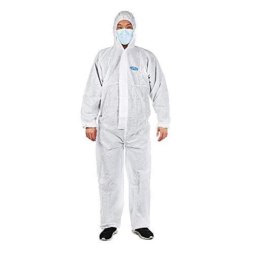 Vêtements de protection unisexe Vêtements d'isolement Non-tissés antistatiques Costume de travail de sécurité élastique Vêtements anti-poussière Blanc-XXL