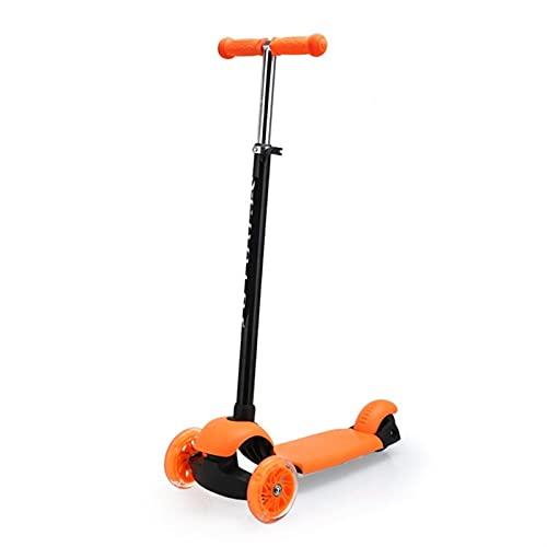 WANGYIYI Patinetes para niños Kick Scooters de Ajuste de Altura Patinete de desmontaje Plegable Scooter de 3 Ruedas Intermitentes Resistentes al Desgaste para niños y niñas (Color : Orange)