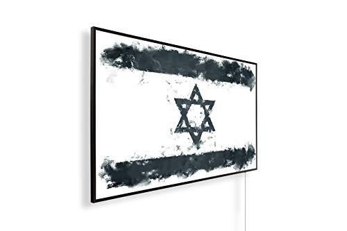 Könighaus Fern Infrarotheizung – Bildheizung in HD mit TÜV/GS - 200+ Bilder - Mit Smart Thermostat + Könighaus APP übers Handy - 800 Watt -147. Israelische Flagge Black Edition