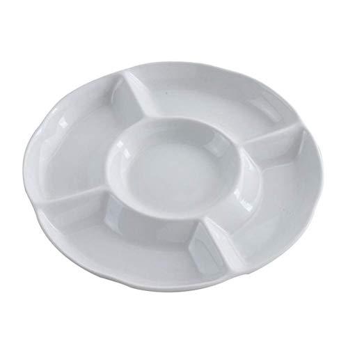 BESTonZON Antipasto Piatto da Portata - Snack Diviso Rotondo Piatto da Portata Vassoio per Alimenti Vassoio antipasto Piatto da Portata (9 Pollici/Bianco)
