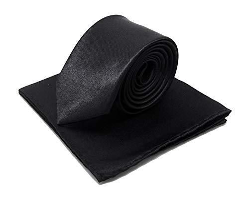 Cravate étroite slim noire et pochette mouchoir de costume noir