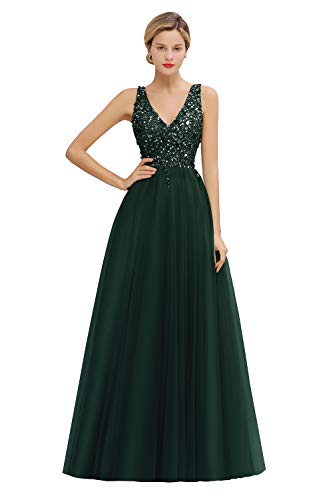 MisShow Damen elegant V Ausschnitt Pailletten Abendkleider Ballkleider Abschlusskleider Maxilang Grün 32