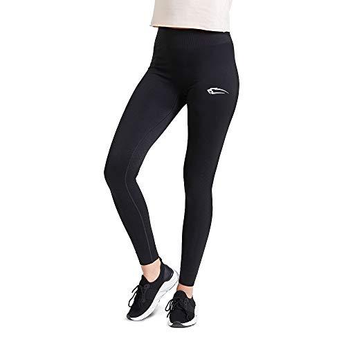 SMILODOX Sport Leggings Damen 'Meditation' | Seamless - Figurformende Tight für Sport Fitness Gym Yoga Training | Sporthose - Workout Trainingshose - Tights Laufhose, Farbe:Schwarz, Größe:S