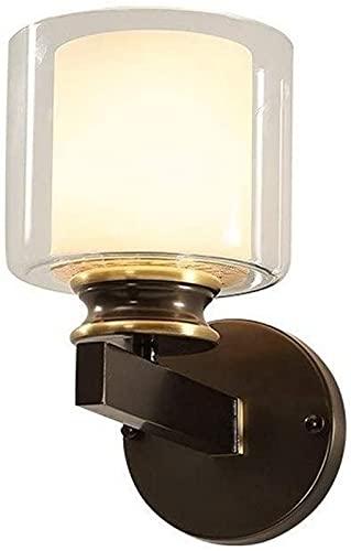 Aplique de Pared Creativo Rural Vintage Antiguo Sala de Estar Dormitorio Mesita de Noche Lámpara de Pared Pasillo de Metal Escalera Pasillo Luz de Pared de Bronce Linterna de Vidrio Blanco Lámpar