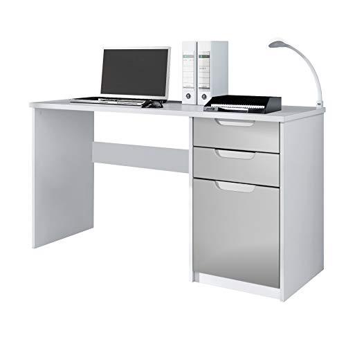 Escritorio Mesa para computadora Mueble de Oficina Logan, Cuerpo en Blanco Mate/frentes en Gris Claro Satinado