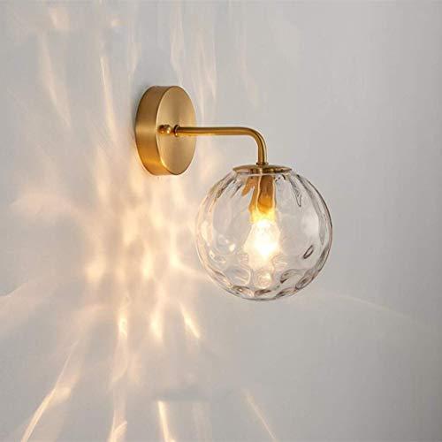 YXYOL Modern Wasser Muster Glaskugel Wandleuchte, Nachttischlampe Leselampe Wandlampe Innen Kupfer Wand Lampe, Schlafzimmer Korridor Beleuchtung,B