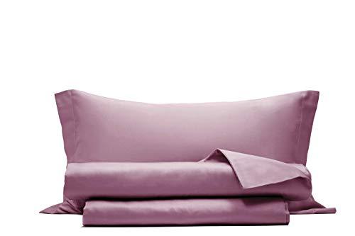 Completo letto lenzuola in raso di puro cotone Made in Italy SINGOLO Rosa Nostalgia