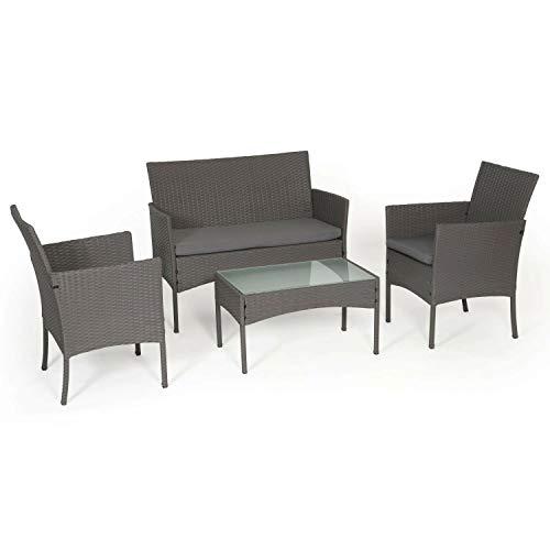 BENEFFITO Tulum - Conjunto Muebles de Jardin de Resina Trenzada Gris - 4 Asientos: 1 sofá, 2 sillones, 1 Mesa de Centro - Cojines Gris con Cremallera