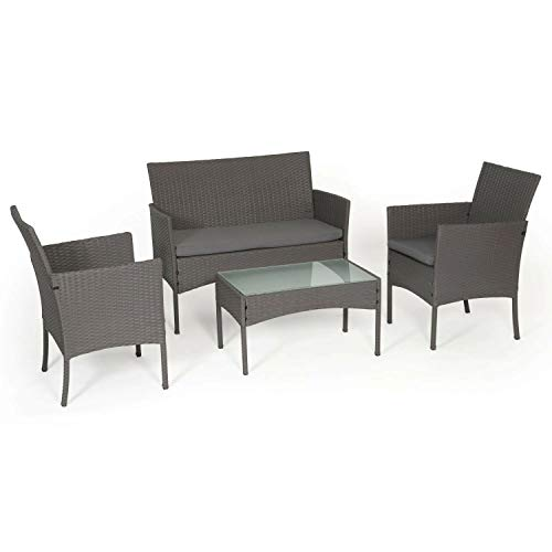 BENEFFITO Tulum - mobili da Giardino in Vimini 4 posti: 1 Divano, 2 poltrone, 1 tavolino - Idrorepellente e Cuscini Removibili con Zip - Grigio/Grigio