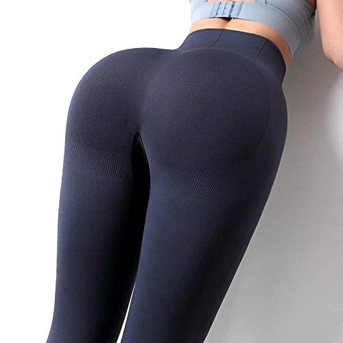 Deportivos Push up Mallas Running,Pantalones de Yoga de Cadera de Cintura Alta, Manojo de Cintura Abdomen Entrenamiento Aptitud Aptitud Pantalones-Púrpura Gris_S,Push Up Mujer Mallas Pantalones