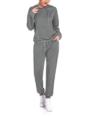 COOrun Trainingsanzug Damen Set Freizeitanzug Langärm Hoodie Sportswear 2 Stück Grau,L