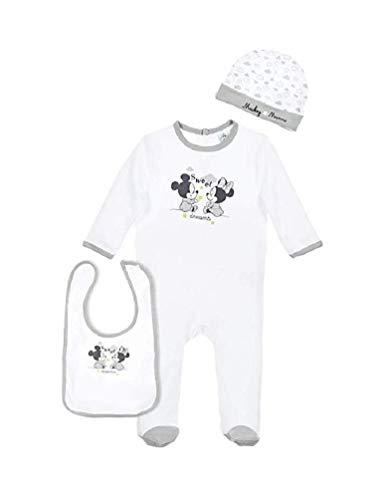 Mickey & Minnie Mouse Baby Set Mütze, Strampler & Lätzchen in Geschenk-Set, Größe:3-6 Monate