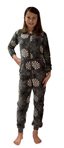 Meisjes jumpsuit overall pyjama Onesie - IJskristal sterren optiek - 281 467 97 956, Maat: 140, Kleur: lichtgrijs