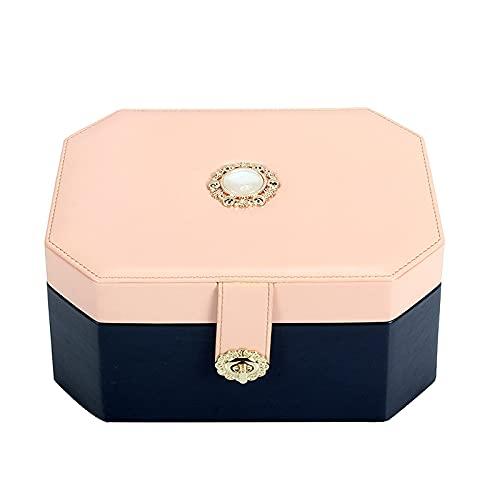 Caja de almacenamiento de joyas PU Caja de joyería de cuero Caja de almacenamiento de joyería de viaje de dos capas Bolso de joyería de gran capacidad, regalo para niñas o mujeres Cajas de joyería