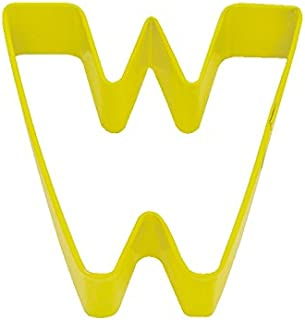 R&M Letter W Cookie Cutter Yellow With Brightly Colored, Durable, Baked-on Polyresin Finish