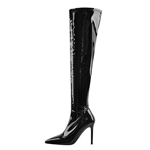 Only maker Damen Overknees Stretch Stiefel Stiletto Absatz Lack Optik Schwarz 45 EU