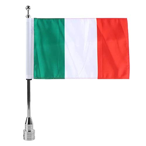 MASION Vivid Color Fade Resistant Motorcycle 6 x 9 Italy Flag with Flag Pole Mount for Honda Goldwing CB VTX CBR Yamaha for Harley
