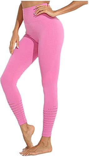 DEEWISH Sporthose Damen, Yoga Hose Sport Leggings Laufhose Tights Lange Blickdicht Yoga Fitnesshose mit Hohe Taille für Workout Gym Jogging (L, Rosa)