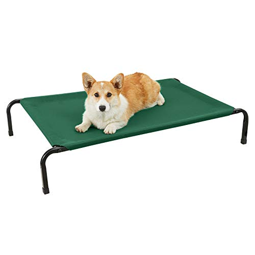 Veehoo Cooling Elevated Dog Bed with Curved Poles, Raised Pet Cot for Large Dogs, Durable Textilene Mesh, Waterproof & Breathable Mat, Nonskid Feet, Indoor or Outdoor Use, L, Black