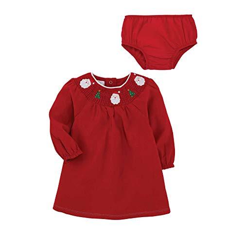 Mud Pie Baby Girls' Smocked Christmas Dress, RED, 5T