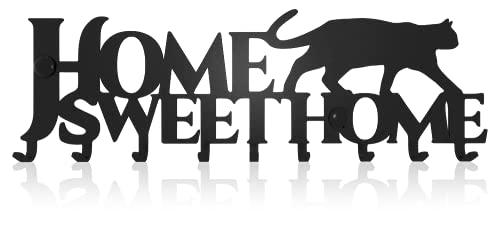 Home Sweet Home Gatto Portachiavi da Muro (10- Ganci) Decorativo, Ganci in Metallo per Porta d'ingresso, Cucina, Garage | Organizza le Chiavi di Casa, Lavoro, Macchina, Veicoli | Arredamento Vintage