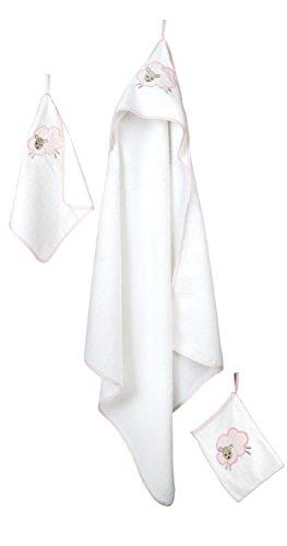 roba Handtuch Set \'Kleine Wolke rosa\', 3tlg, Baby Waschset, hochwertiges Frottee, Kapuzenhandtuch, Handtuch 30x30 cm, Waschlappen zum Baden und Pflegen, mit Schafapplikation