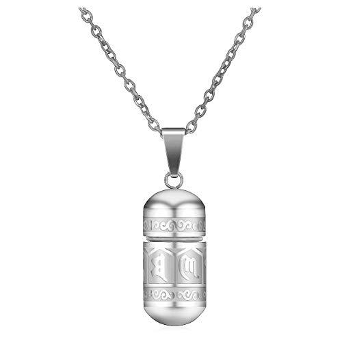 JSDDE Schmuck Edelstahl Buddhistisches Mantra Anhänger mit 24 Zoll Kette Om Mani Padme Hum Gebetsmühle Flasche Kapsel Anhänger Urn Anhänger für Frauen Männer (Silber)