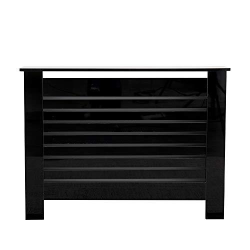 Wooden High Gloss Black Radiator Cover Cabinet Table Storage Shelf Slat Style Modern Living Room Bedroom (Black-M: 111.5X19X82 cm)