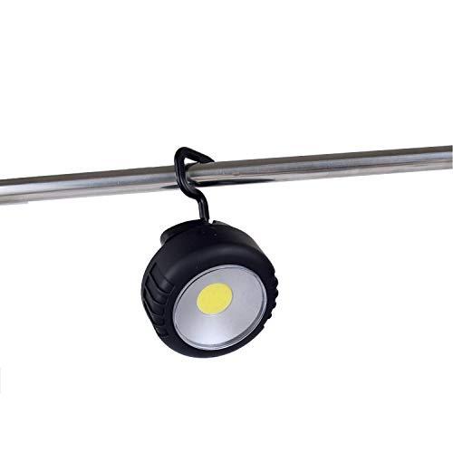 WOLFTEETH Lámpara LED redonda con gancho e imán, mini luz de trabajo, ABS negro/batería excluida 4158