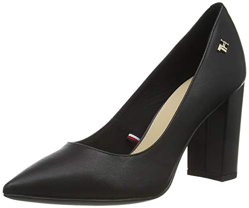 Tommy Hilfiger Damen Feminine Leather HIGH Heel Pump Pumps, Schwarz (Black Bds), 38 EU