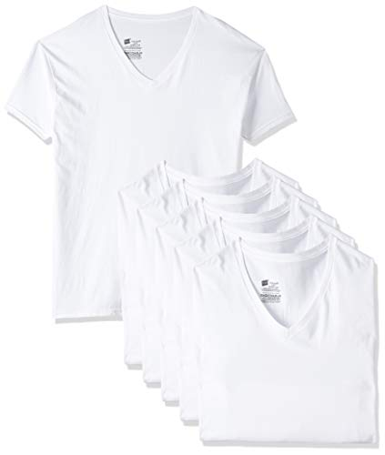 Hanes Herren 777vp6V-Ausschnitt-T-Shirts (6 Stück) Gr. Large, weiß
