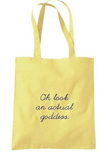 illustratedidentity Oh Look An Actual Goddess Tragetasche 37,5 x 42 cm mit langen Griffen, Gelb - zitronengelb - Größe: Einheitsgröße
