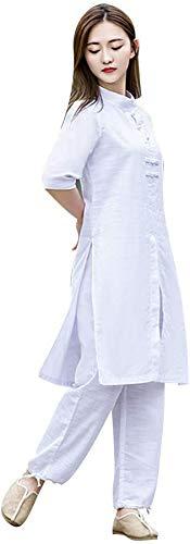 Vestido de Tai Chi para Mujer, Vestido de Yoga de Artes Marciales de Lino, Vestido de meditación Tradicional Chino con Media Manga para Kung Fu Wing Chun