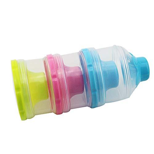 Contenedor de polvo de leche 3 capas Dispensador de leche en polvo para bebé Contenedor de almacenamiento de viaje para bebé con mango Contenedor de almacenamiento apilable sin derrame