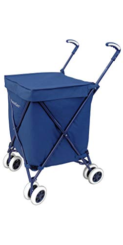VersaCart Transit -The Original Patented Folding Shopping and Utility Cart, Water-Resistant Heavy-Duty Canvas with Cover, Double Front Swivel Wheels, Compact Folding, Transport Up to 120 Pounds, Blue
