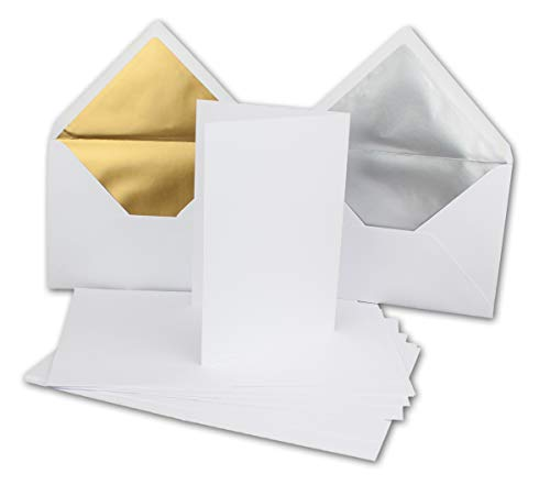 falkarten Set avec des enveloppes Or ET Argent gefütterten r1294 r1295 | Brillant Chromo Lux 50 Sets Blanc éclatant