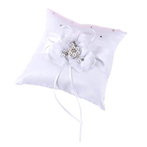 NUOLUX Ring-Träger-Kissen, 20 * 20cm Hochzeits-Ring-Kissen-Perlen-Blume verziert