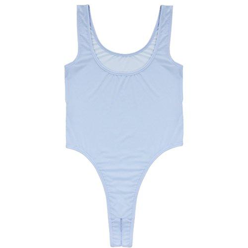 JEATHA Women's Sleeveless Stretchy Thong Leotard Open Croth High Cut Bodysuit Underwear Lingerie Lavender One Size