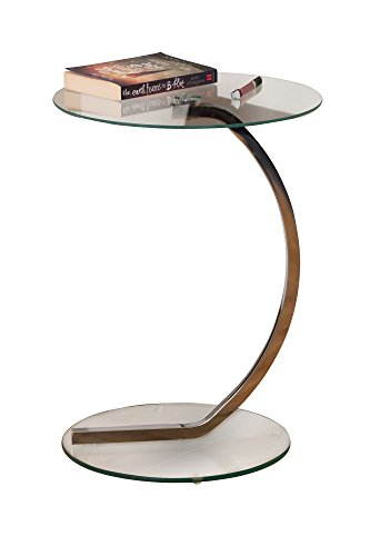 ASPECT Merlin Clear Glass Round Table, Chrome