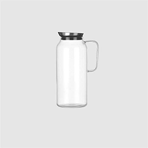 HJYSQX Jarra de Vidrio de 2.0 litros/litro, Recipiente de Vidrio de Vidrio de silicato, Jarra de Agua con Tapa, Jarra de té con vertedor, Botella de Agua para Limonada/Bebida fría (Olla individ