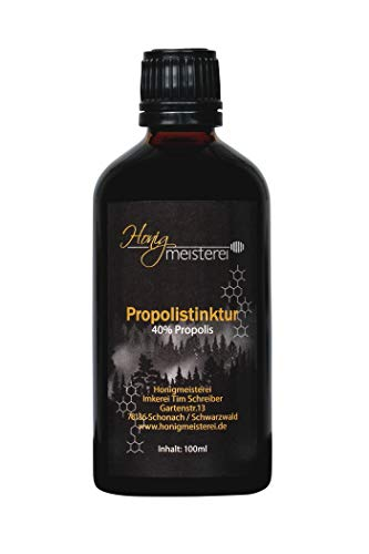 Honigmeisterei Propolis Tinktur 100ml mit 40% natürlichem Propolis, in bester Qualität aus Schwarzwälder Imkerei, Propolis Tropfen ohne Zusatzstoffe