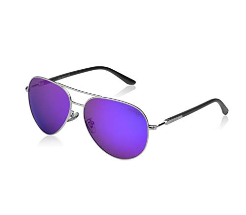 LUENX Womens Sunglasses Polarized Mirrored with Case - UV 400 Protection Purple Lens Silver Frame 60mm