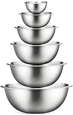 Premium Stainless Steel Mixing Bowls (Set of 6) Stainless Steel Mixing Bowl Set - Easy To Clean, Nesting Bowls for Space Saving Storage, Great for Cooking, Baking, Prepping by FINEDINE