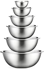 SIZED for EVERY TASKS - With range of 6-Sizes ¾, 1.5, 3, 4, 5, and 8 quart, metal mixing bowls add versatility and functionality to your kitchen. For all-purpose kitchen workhorses from prepping, mixing, stirring, to kneading dough like a pro. STAINL...